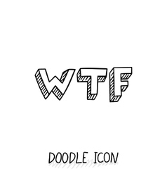Doodle WTF icon Social chatting element vector