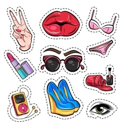 Fashion Patch Comic Style Set vector