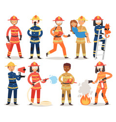 firefighter cartoon fireman character vector image