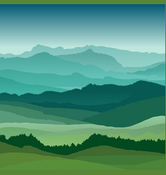 Flat landscape beautiful hills vector