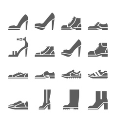 Footwear icon set collection of shoes vector image