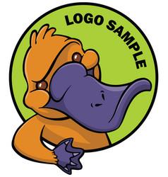 Funny happy cartoon platypus or duckbill vector