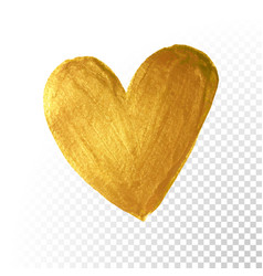 gold paint brush valentine heart on white vector image
