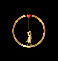 Gold ring valentines day concept loving couple vector