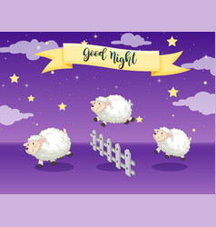 Good night poster with counting sheep vector