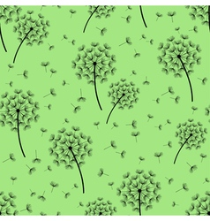 Green seamless pattern with black dandelions vector