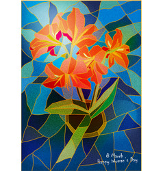 Greeting card lily stained-glass window vector