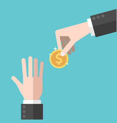 hand giving coin vector image