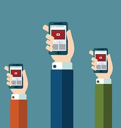 Hands holds smartphone with video player app on vector