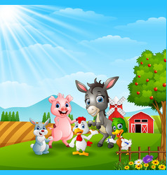 Happy farm animals in daylight vector
