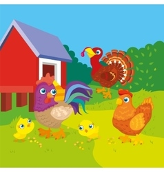 Hen With Rooster And Chickens vector