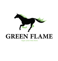 Horse green flames logo vector