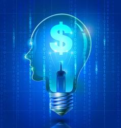 Human Head Light Bulb with Dollar Symbol vector