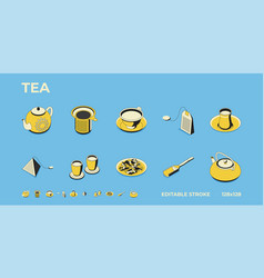 icons tea teapots mugs tea bags highly vector image