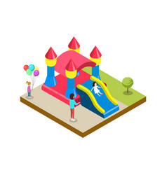 Inflatable castle isometric 3d element vector