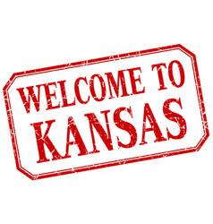 Kansas - welcome red vintage isolated label vector