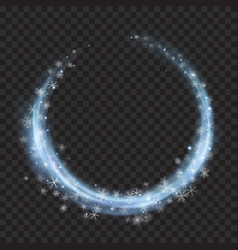 Light blue glowing rings with glitters and vector