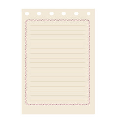 Line spiral diary sheet element vector