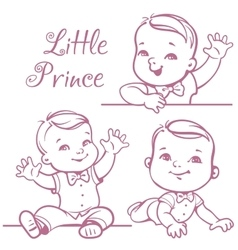 Little baby boy set vector