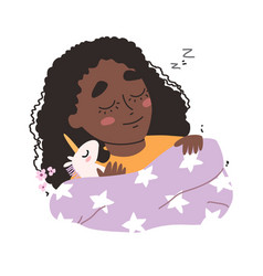 Little cute black african american girl sleeping vector