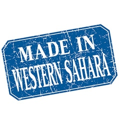 Made in Western Sahara blue square grunge stamp vector