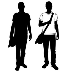 men with bag on shoulder vector image