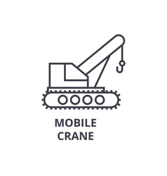 Mobile crane line icon sign vector