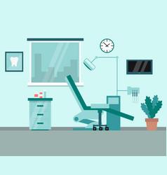 Modern cabinet dentist cartoon interior with vector