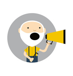 Old man with megaphone round avatar icon vector