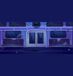 Old subway train car broken metro wagon interior vector