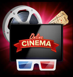 Online cinema poster modern mobile tablet vector