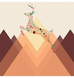 Ornamental Christmas reindeer and mountains vector