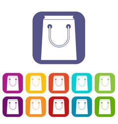 Paper bag icons set vector
