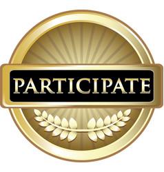 Participate gold icon vector
