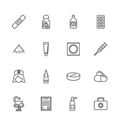 pharmacy- flat line icons vector image