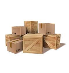 pile of stacked goods cardboard and wooden boxes vector image