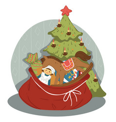 Pine tree and bag with presents for new year xmas vector