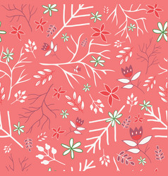 pink winter vintage florals seamless pattern vector image