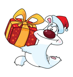 polar bear and gift box vector image