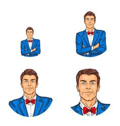 Pop art avatar icon of handsome man vector