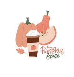 pumpkin spice latte hot paper cup coffee vector image