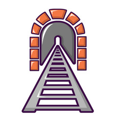 Railway tunnel icon cartoon style vector