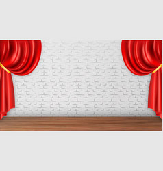 Red curtains on white brick wall background vector