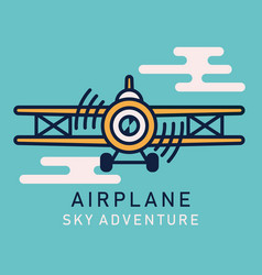 Retro airplane flat image vector