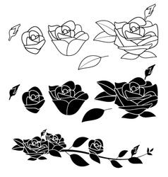 Rose flower black and white vector