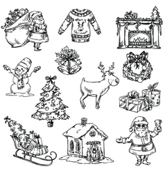 Selection of Christmas symbols vector