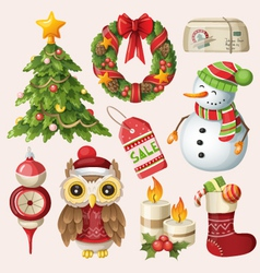 set christmas items and characters vector image