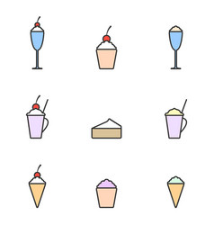 set of colored icons icecream linear art dessert vector image