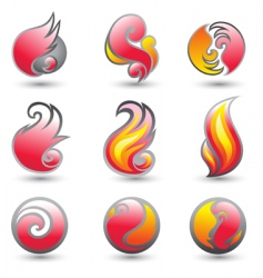 set of fire corporate symbols vector image