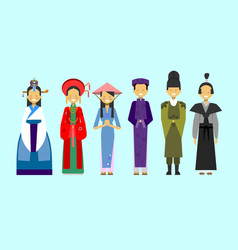 Set of people in traditional asian clothing vector